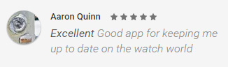 Wristwatch News Android App - five star reviews on Google Play Store